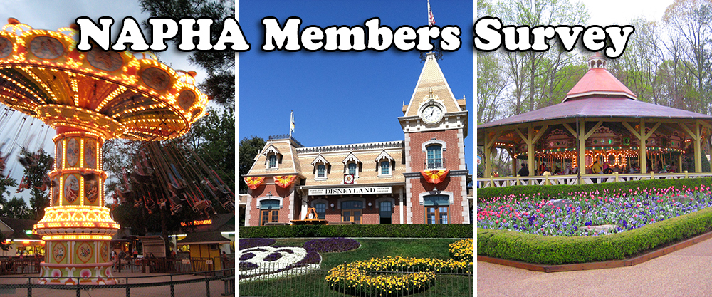 Three images, showcasing the winners of the NAPHA Members Survey, show Knoebels, Disneyland, and Busch Gardens Williamsburg.